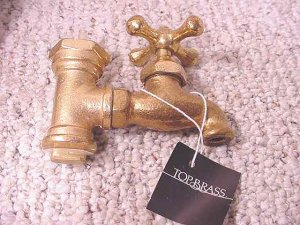 3 Solid Brass Faucet Style Liquor Dispensers NIB