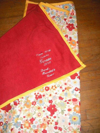 Fleece blanket embroidered