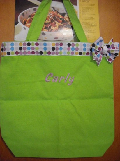 Small canvas bags with name and ribbon Pink, lime green, blue jean