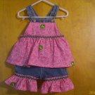 John Deere Pink and green girls' overalls shortalls