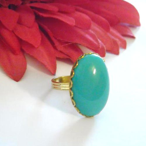 Bold Vintage Turquoise CAB GLASS adjustable golden Brass ring