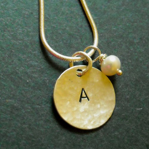 Sterling silver hammered intial A disk pearl pendant necklace