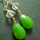 Fresh green quartz crystal sterling silver earring