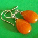 Happy orange jade gemstone sterling silver Earring