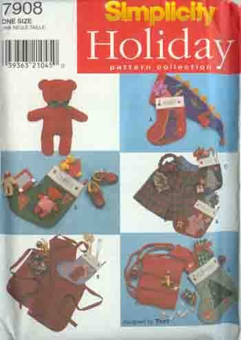 Simplicity Pattern 7908 Christmas Stockings Gifts Boxer Shorts Bear Apron Scarf Hat Appliques