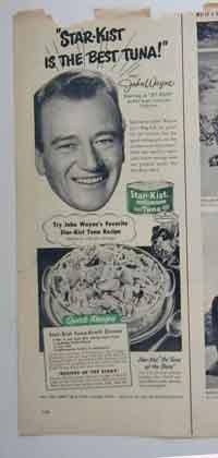 John Wayne Ad 1950s Star-Kist Tuna with John's Favorite Recipe