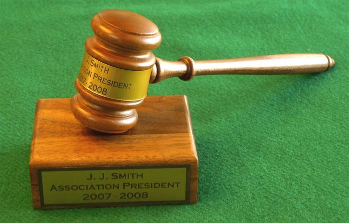 Gavel & Sound Block New Walnut Custom Engraving