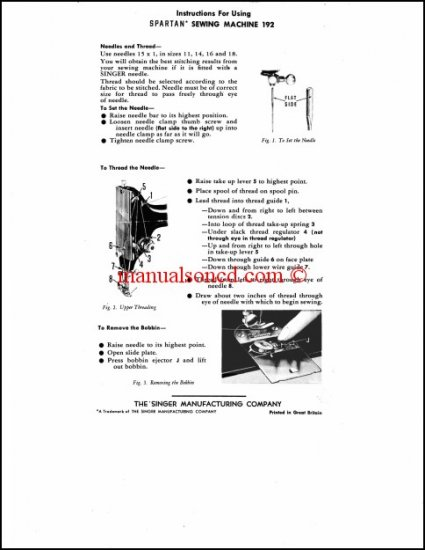 Singer 192 Spartan Sewing Machine Instruction Manual