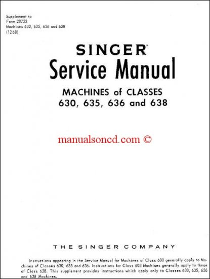 Singer Models 630 - 648 Sewing Machine Service Manual