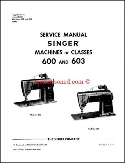 Singer 600 603 Sewing Machine Service Manual