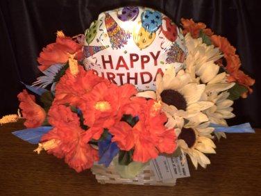 Happy Birthday Flower Gift Basket