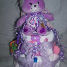 2-Tier Purple Care Bear (Share Bear) Diaper Cakes