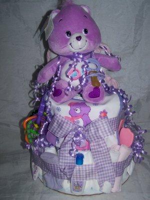 2-Tier Purple Care Bear (Share Bear) Diaper Cakes
