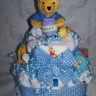 2-Tier Blue Winnie the Pooh Diaper Cakes
