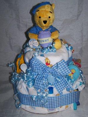 2-Tier Blue Winnie the Pooh Diaper Cakes