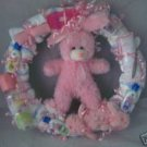 Pink Bunny Diaper Cake Wreaths