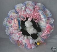"Pink ""Got Milk"" Diaper Cake Wreaths"