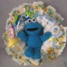 Yellow Big Bird/Blue Cookie Monster Sesame Street Diaper Cake Wreaths