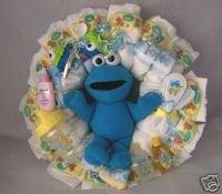 Yellow Big Bird/Blue Cookie Monster Sesame Street Diaper Cake Wreaths