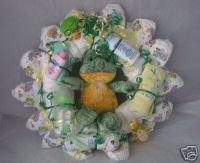 Green Frog Diaper Cake Wreaths