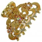 HA00003 Austrian Crystal Hair Claw Clip Golden Yellow