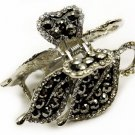 HA00331-5 Austrian Crystal Woman Hair Claw Clip Floral Black NEW