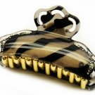 HA00335-BR Woman Hair Claw Lucite Animal Print Crystal Brown NEW