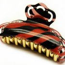 HA00335-RD Woman Hair Claw Lucite Animal Print Crystal Red NEW