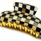 HA00336-BK Woman Fashion Hair Claw Clip Lucite Checker Black NEW
