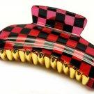 HA00336-RD Woman Fashion Hair Claw Clip Lucite Checker Red NEW