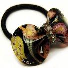 HA00340-GD Woman Pony Tail Hair Band Floral Ribbon Gold NEW