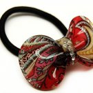 HA00340-RD Woman Pony Tail Hair Band Floral Ribbon Red NEW