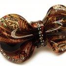HA00341-BR Woman Hair Barrette Clip Floral Ribbon Brown NEW