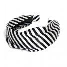 HA00334-STRBK Fashion Woman Headband Satin Stripe White Black NEW