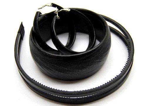 HA00308-BK Woman Fashion Headband Bangle Earrings Set Black