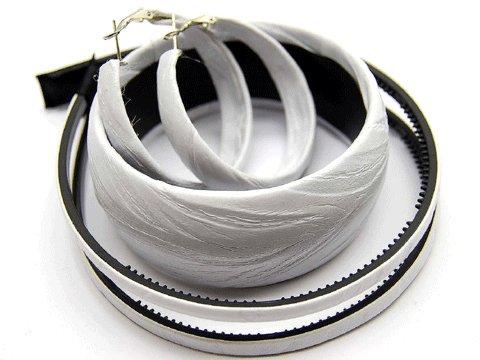 HA00308-W Woman Fashion Headband Bangle Earrings Set White