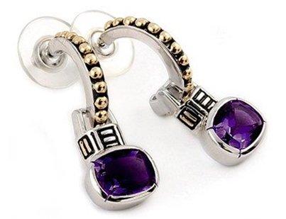 SSER0069 2 Tone Oval Amethyst 925 Sterling Silver Earrings