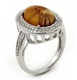 SSRG0006 Brown Matte MILLEFIORI Oval Sterling Silver Ring 9