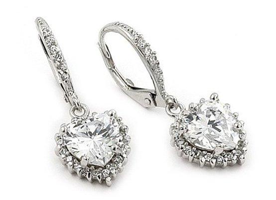 SSER0066 Dangling Heart CZ 925 Sterling Silver Earrings