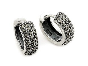 SSER0007 Half Tube Marc Huggie Earrings 925 Sterling Silver