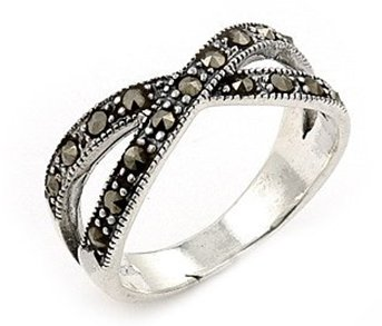 SSRG0009 Marcasite 2 Row 925 Sterling Silver Ring Size 7