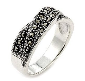 SSRG0010 Marcasite Elegant 2 Row 925 Sterling Silver Ring Size 7