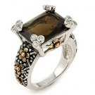 SSRG0002 2 Stone Rectagle Brown CZ Sterling Silver Ring Size 7