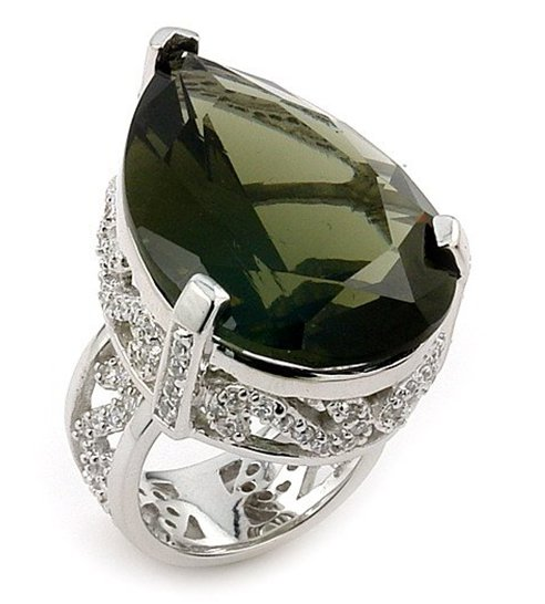 SSRG0047-07 Drop Smokey Glass Round CZ Sterling Silver Ring Size 7