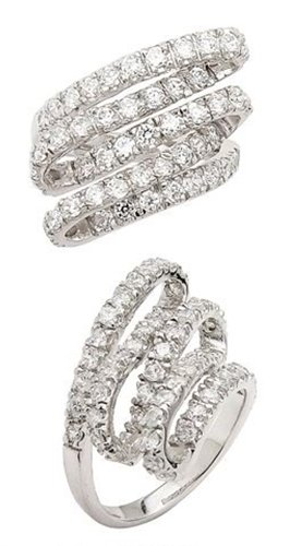 SSRG0049-07 Freeform Pave CZ Sterling Silver Ring Size 7