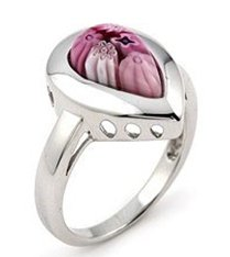 SSRG0050-08 MILLEFIORI Pink Drop Sterling Silver Ring Size 8