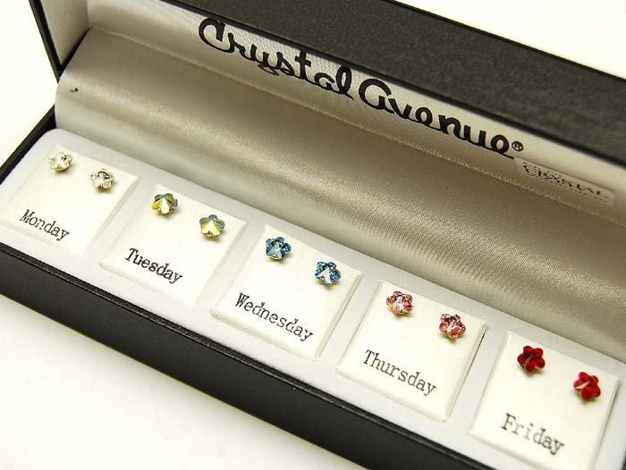 GS00005 Swarovski Crystal Stud 5 Earrings Flower Gift Box Set