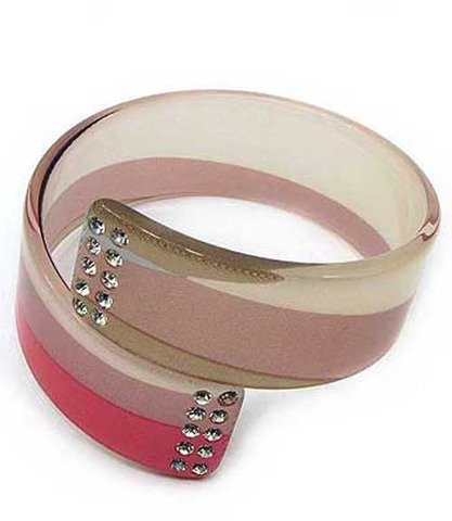Crystal Stud Lucite Bangle Textured Imprinted Pink