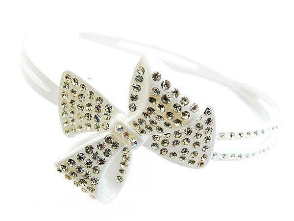 Crystal Studs Acrylic Woman Headband Ribbon White