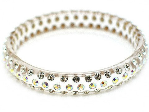 """Crystal Studs Lucite Bangle 1/2"""" Wide Clear Translucent"""